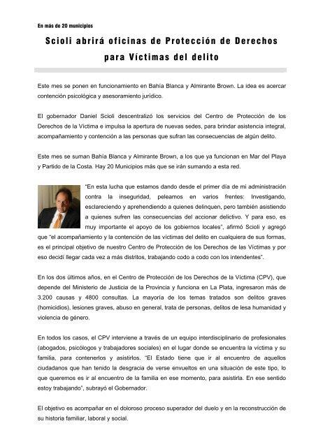 Scioli abrirá oficinas de Protección de Derechos para Víctimas del ...