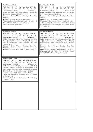 Fire Warrior Profile WS BS S T Ag Int Per WP Fel 25 35 30 30 25 30 ...
