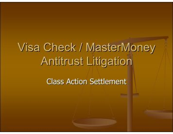 Visa Check/MasterMoney Antitrust Litigation – Barbara Kawamoto