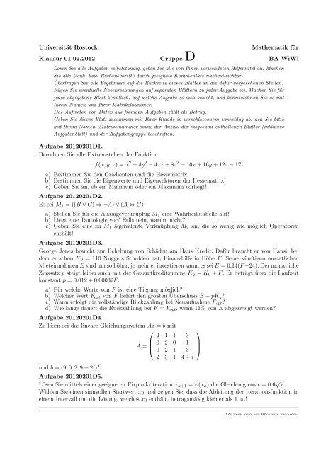 Universität Rostock Mathematik für Klausur 01.02.2012 Gruppe D ...