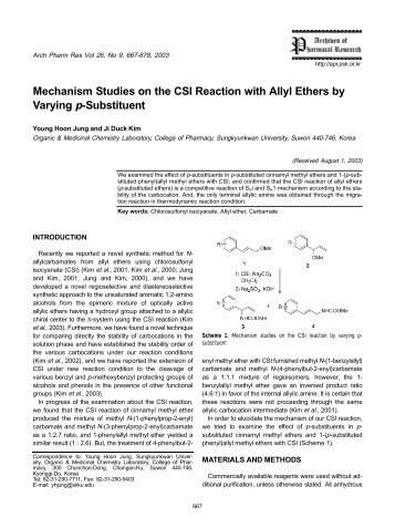 Mechanism Studies on the CSI Reaction with Allyl Ethers by Varying ...