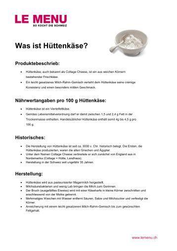 Facts rund um Hüttenkäse zum Ausdrucken (PDF - Le Menu