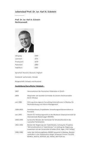 Lebenslauf Prof. Dr. iur. Karl A. Eckstein - Rechtsanwälte in Moskau