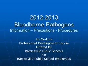 Bloodborne Pathogens Training PDF - Bartlesville Public Schools