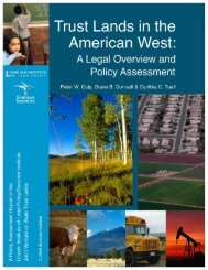 Trust Lands in the American West - Lincoln Institute of Land Policy