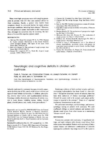 Neurologic and cognitive deficits in children with cystinosis