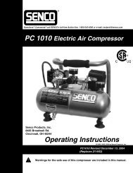Comments? call SENCO's toll-free Action-line - Air Compressors Direct