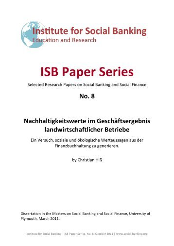 ISB Paper Series - Institute for Social Banking