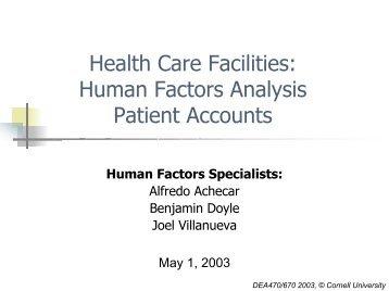 Patient accounts - Cornell University Ergonomics Web