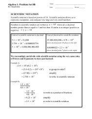 SCIENTIFIC NOTATION Algebra 1: Problem Set 8B - MathChamber