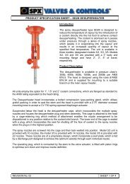 product specification sheet – sd2k desuperheater - Fagerberg