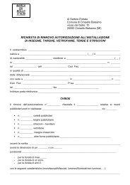 RICHIESTA DI RINNOVO - Comune di Cinisello Balsamo