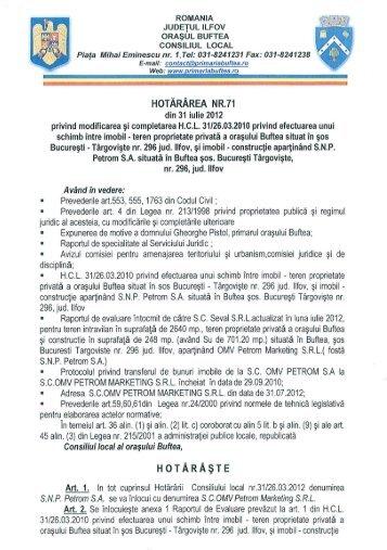 hotararea nr. 71 - Primaria buftea