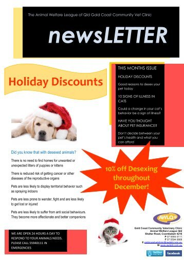 Holiday Discounts - Animal Welfare League of Queensland