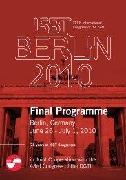 Final Programme - International Society of Blood Transfusion
