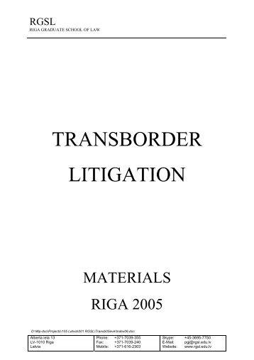 TRANSBORDER LITIGATION - Lexnet