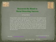Research-the Road to Metal Detecting Success - MDHTALK