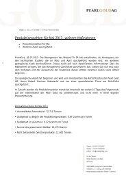 Produktionszahlen für Mai 2013, weitere Maßnahmen - Pearl Gold AG