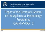 Report of the Secretary-General on the Agricultural Meteorology ...