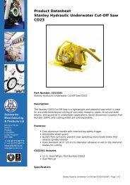Product Datasheet: Stanley Hydraulic Underwater Cut-Off Saw CO23