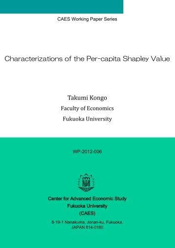 Takumi Kongo Characterizations of the Per-capita Shapley Value