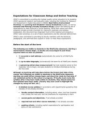 Expectations for Classroom Setup and Online Teaching