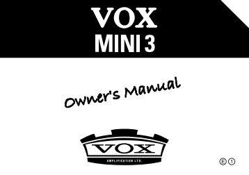 MINI3 Owner's Manual - The VOX Showroom