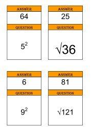 Treasure Hunt - squares, cubes and roots - Mr Barton Maths