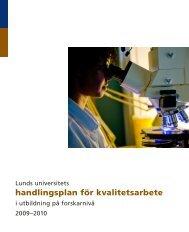 Handlingsplan för kvalitetsarbetet, forskarnivå - Lunds universitet