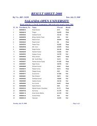 RESULT SHEET-2008 NALANDA OPEN UNIVERSITY