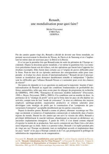Renault, une mondialisation pour quoi faire.pdf - Michel Freyssenet