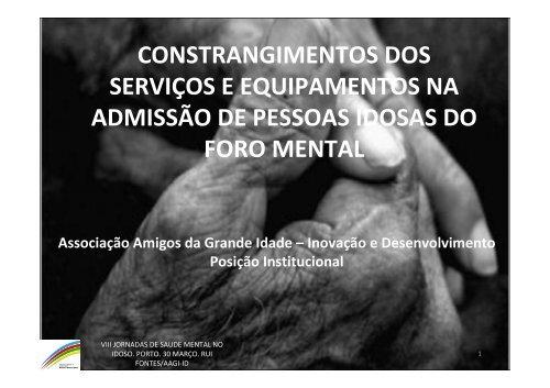 viii jornadas de saude mental no idoso, porto - AAGI-ID Associação ...