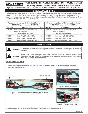Conversion Kit Instruction Sheet - Highway Equipment Company