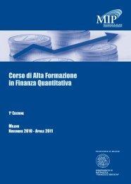 Corso di Alta Formazione in Finanza Quantitativa - Department of ...