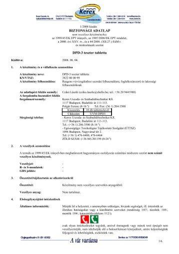 Biztonságtechnikai adatlap - Kerex-Óbuda Kft.