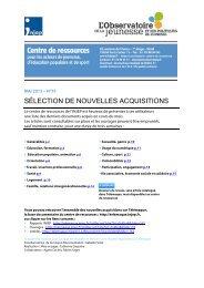SÉLECTION DE NOUVELLES ACQUISITIONS - Injep