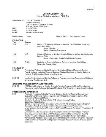 CURRICULUM VITAE - The University of Texas at Brownsville