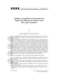 Synthèse et conclusions aux Journées de la biodiversité 2008 dans ...