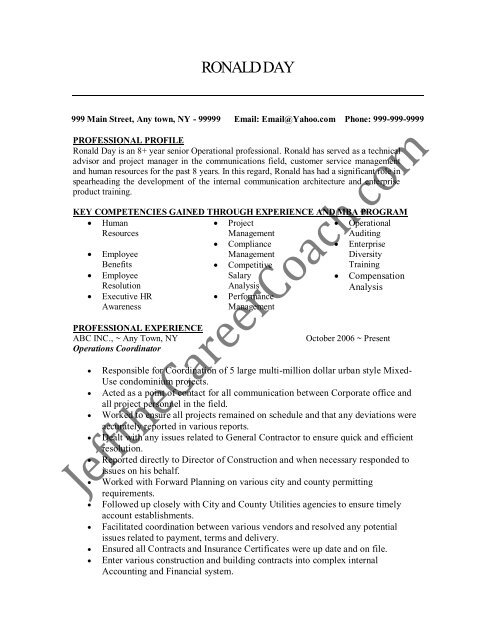 Download The Operations Coordinator Resume Sample Two In Pdf
