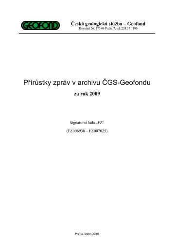 Přírůstky zpráv v archivu ČGS-Geofondu - Česká geologická služba