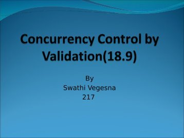 Concurrency Control by Validation