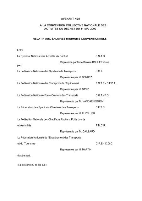 Avenant N 21 A La Convention Collective Nationale Des Activites Du