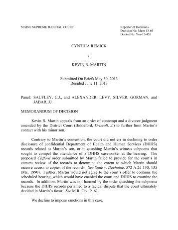 CYNTHIA REMICK v. KEVIN R. MARTIN