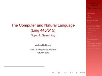 Searching - IU Computational Linguistics Program