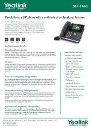 Yealink SIP-T46G Datasheet pdf - VoIP Supply