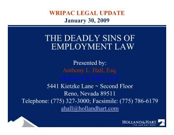 THE DEADLY SINS OF EMPLOYMENT LAW - Wripac