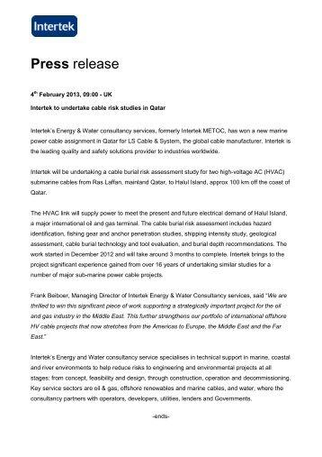 Intertek to undertake cable risk studies in Qatar - Metoc