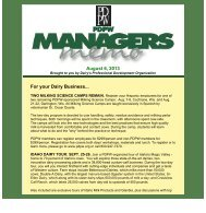 PDPW Managers Memo - Professional Dairy Producers of Wisconsin