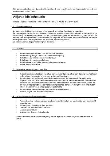 voorwaarden, functiebeschrijving en sollicitatieformulier - Gemeente ...