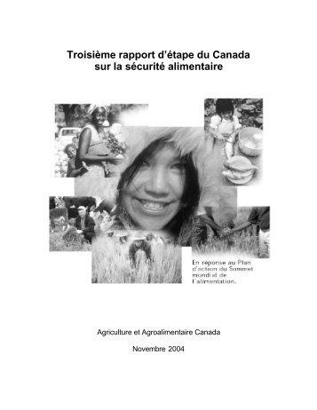 Troisième rapport d'étape du Canada sur la sécurité alimentaire